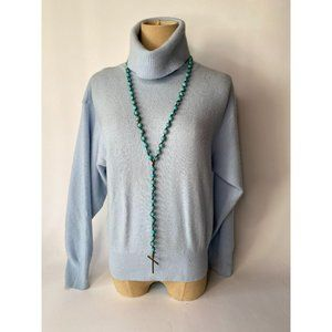 Turquoise Stone Rosary Look Necklace